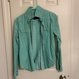 Mint courduroy button down shirt